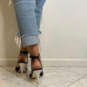 CHANEL Shoes - Chanel Vintage Trellis Leather Strap Sandal Heels.